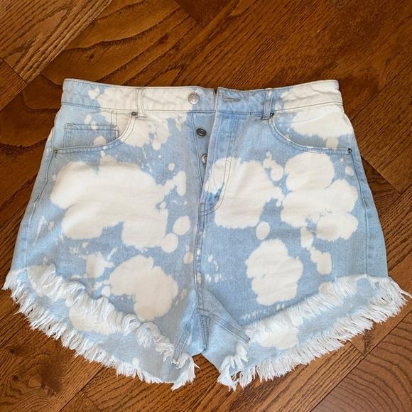 Bleach dyed high rise Jean shorts